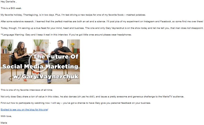 Marie Forleo Email Newsletter