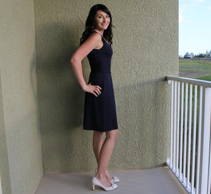 blue dress side view