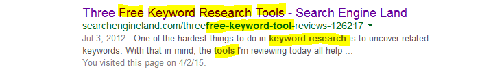 keyword research example