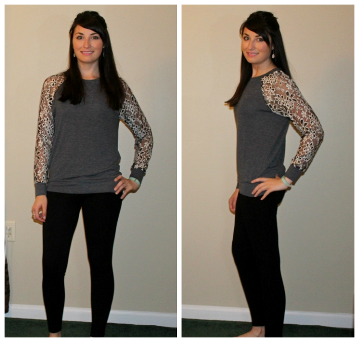 Le Lis Leavy Lace Sleeve Knit Top in Dark Gray