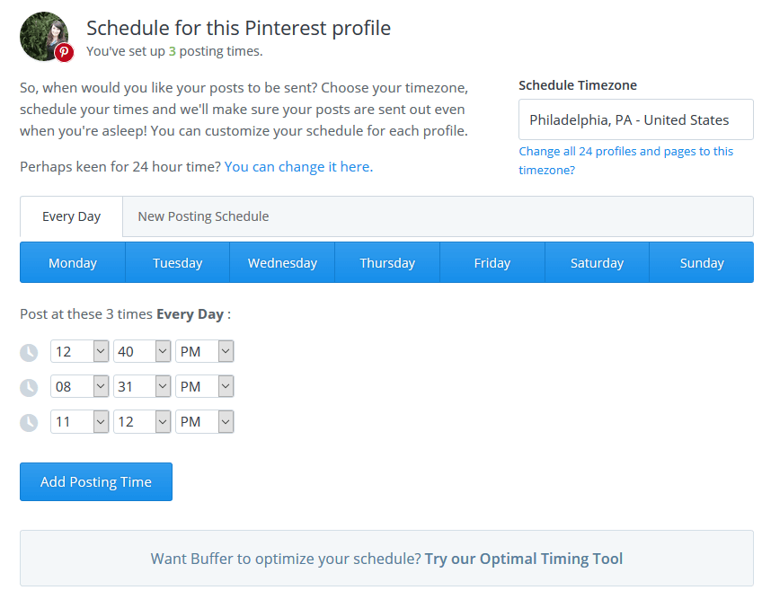 Buffer Pinterest Optimal Timing
