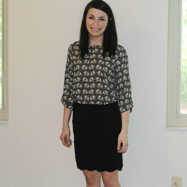 Ellie Elephant Blouse & Heidi Scallop Hem Pencil Skirt from Stitch Fix