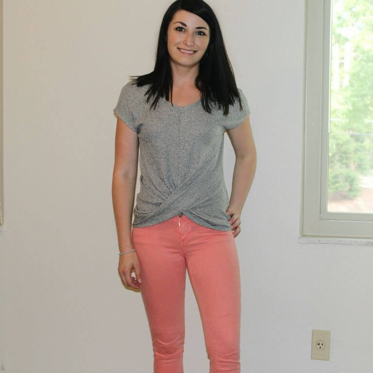 Sibley Twisted Knot Top in Gray with Adora Skinny Jean in Pink from Stitch Fix