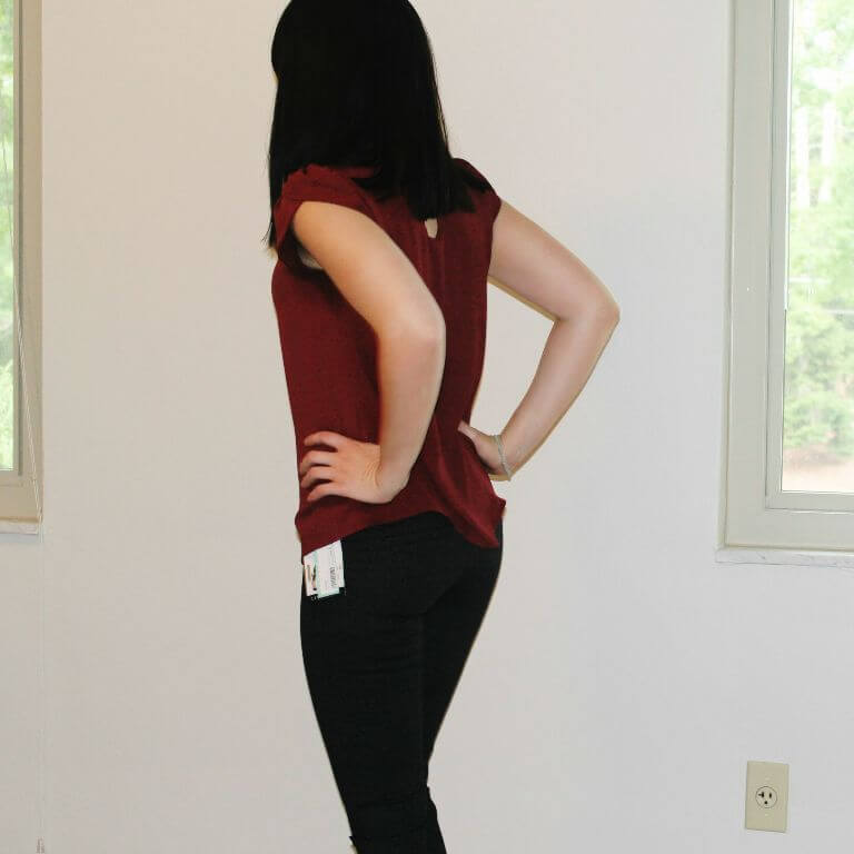 Stitch Fix Laurie Skinny Pants in Gray & Bastille Tulip Sleeve Blouse in Red