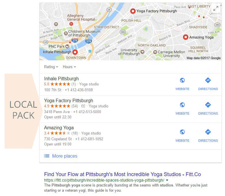Example of Local Pack Search Results for Yoga Business