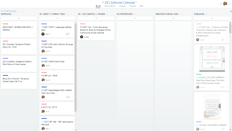 Using Asana boards to visually organize projects