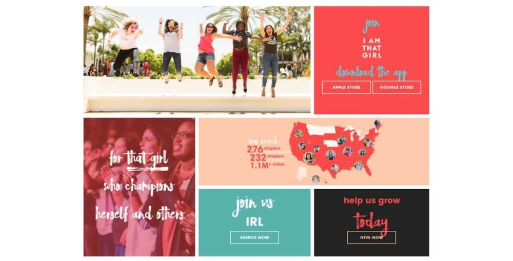 I Am That Girl,  a non-profit co-founded by Emily Greener and Alexis Jones, empowers over 1 million young women across the globe through leadership, social and personal development. They break up their homepage with options appealing precisely to their target market