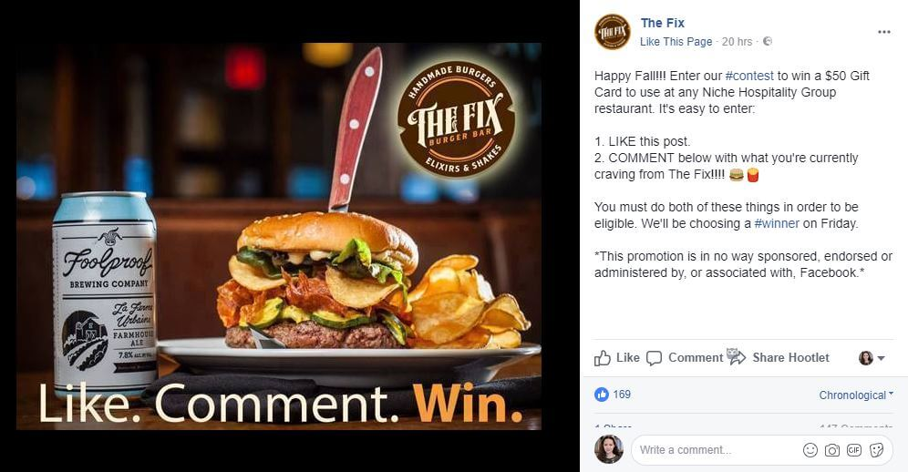 facebook contest promo example