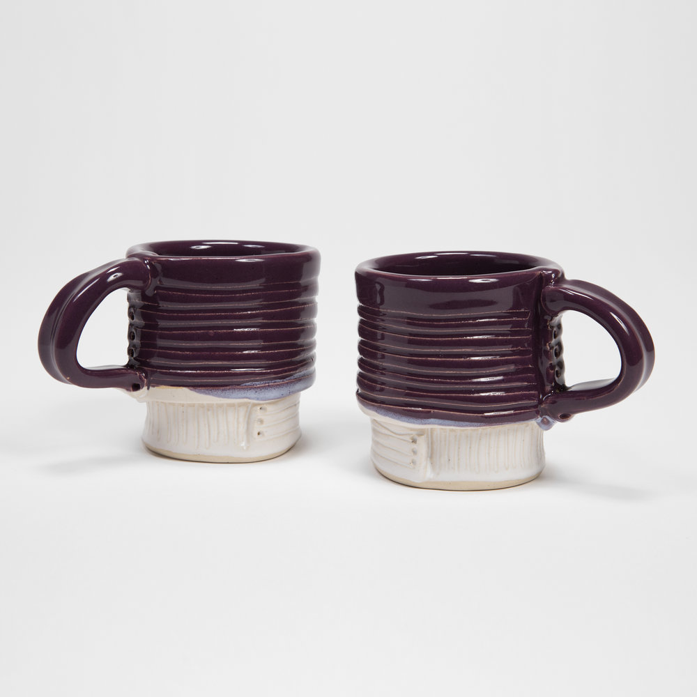 Plum/White Mugs with Carved Base