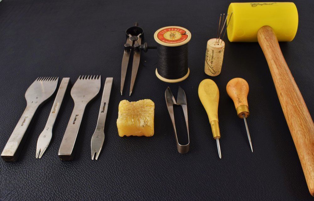 All the tools involved in hand-stitching