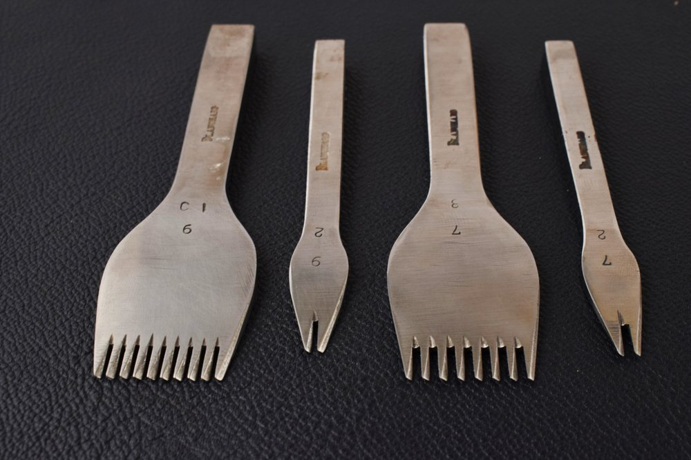 French Pricking Irons. The first number indicates stitches per inch, the second the number of teeth on the irons. 2-teeth irons are used for rounding corners and shorter lines.