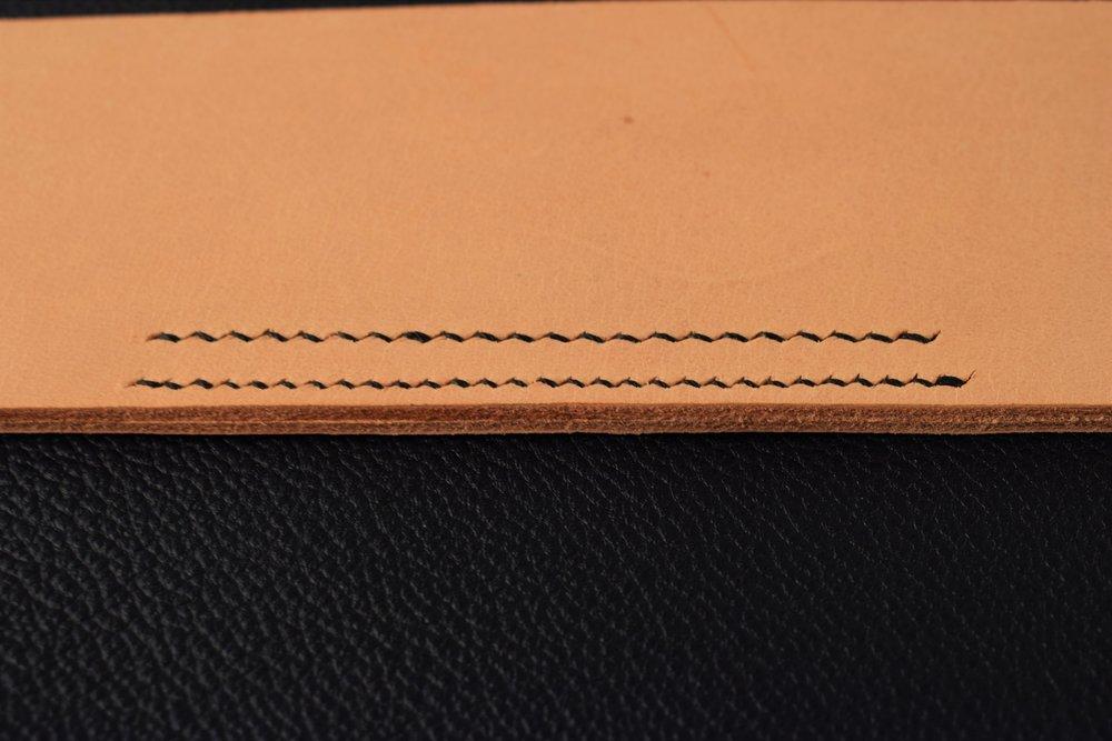 Finished Line of Stitching: Front view Top Line: 7spi Bottom Line: 9spi