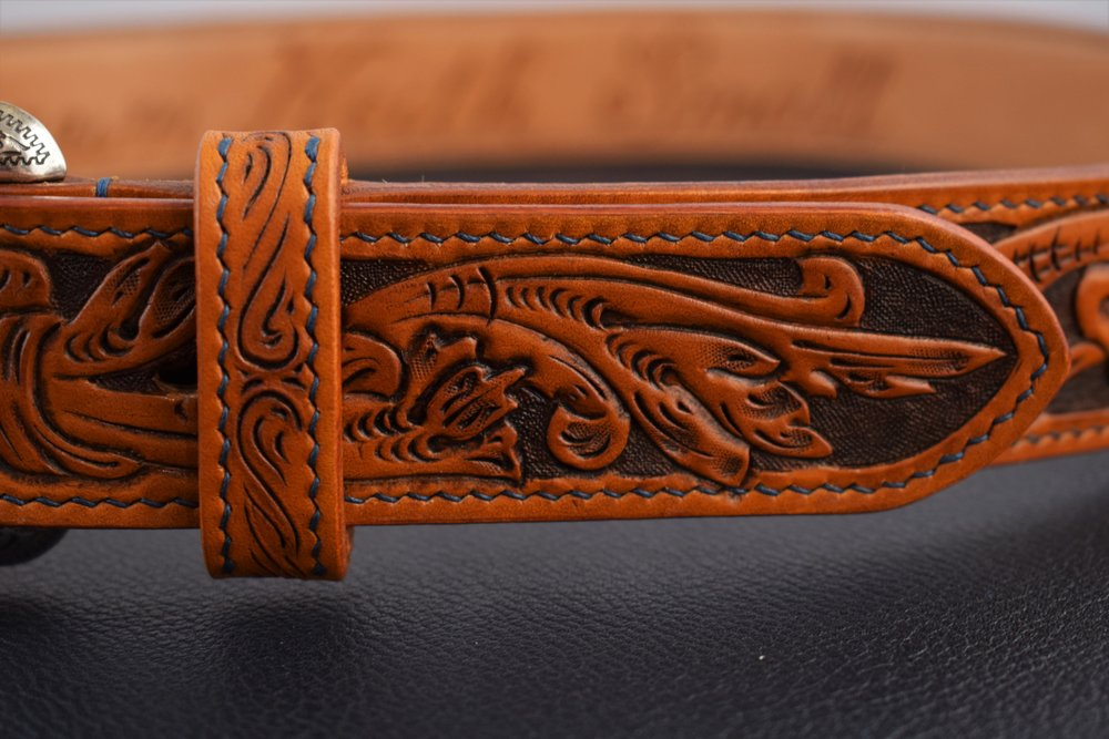 "1.5"" Custom Design with Full Name, Stitched Keep, and Special Order Buckle ($390)"