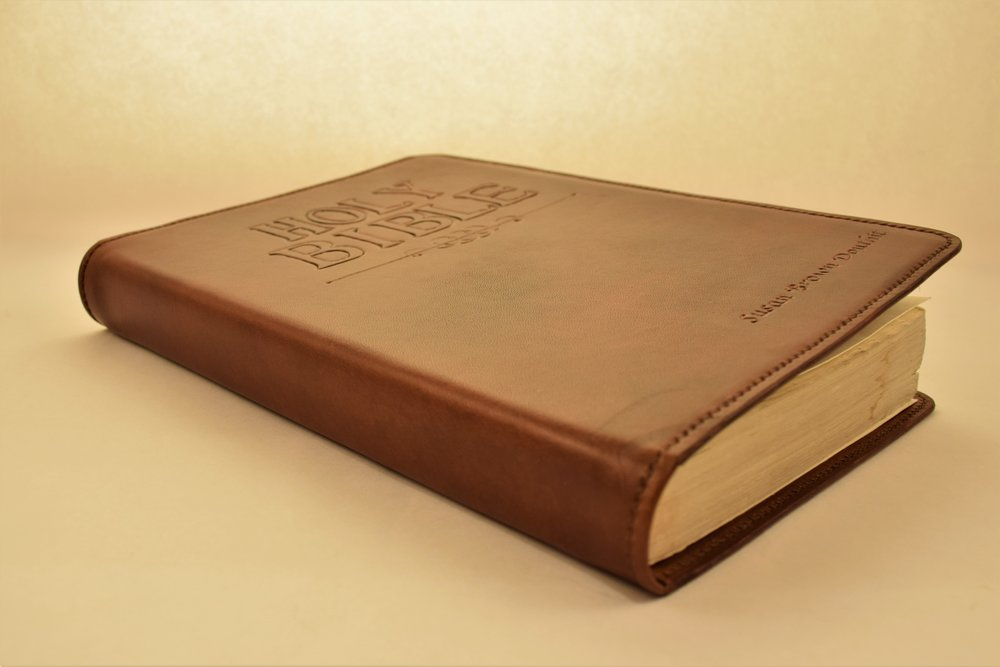 Bible Cover- Starting at $100 - Whether it's a first Bible,a family heirloom or another cherished book, it deserves to be protected and preserved. Avoid the heartbreak of seeing your favorite collection of words falling apart by encasing it in a hand-crafted cover that will last for generations...Learn More