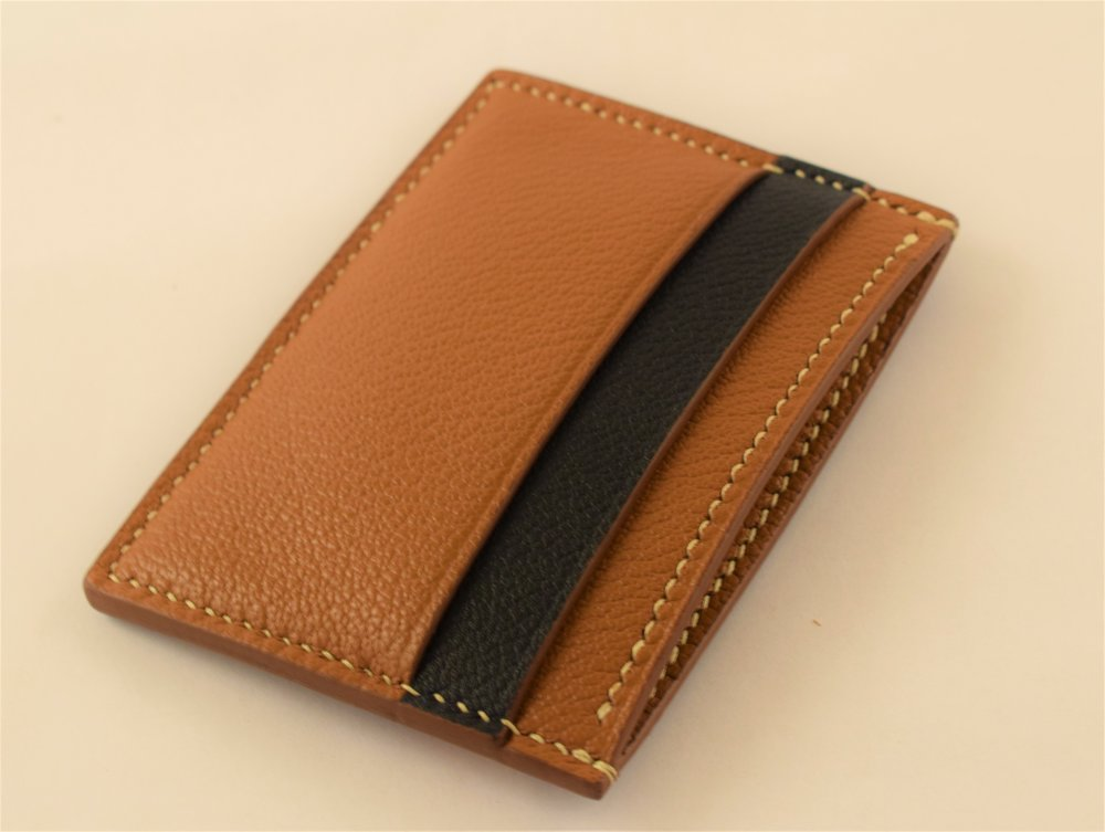 Navy Calfskin and Golden Brown Goatskin Combination, Lined Cash Pocket ($140)