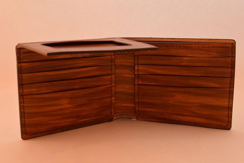 Custom Hand-dyed Wood Grain, Dark Brown Thread, Burnished edges ($250)