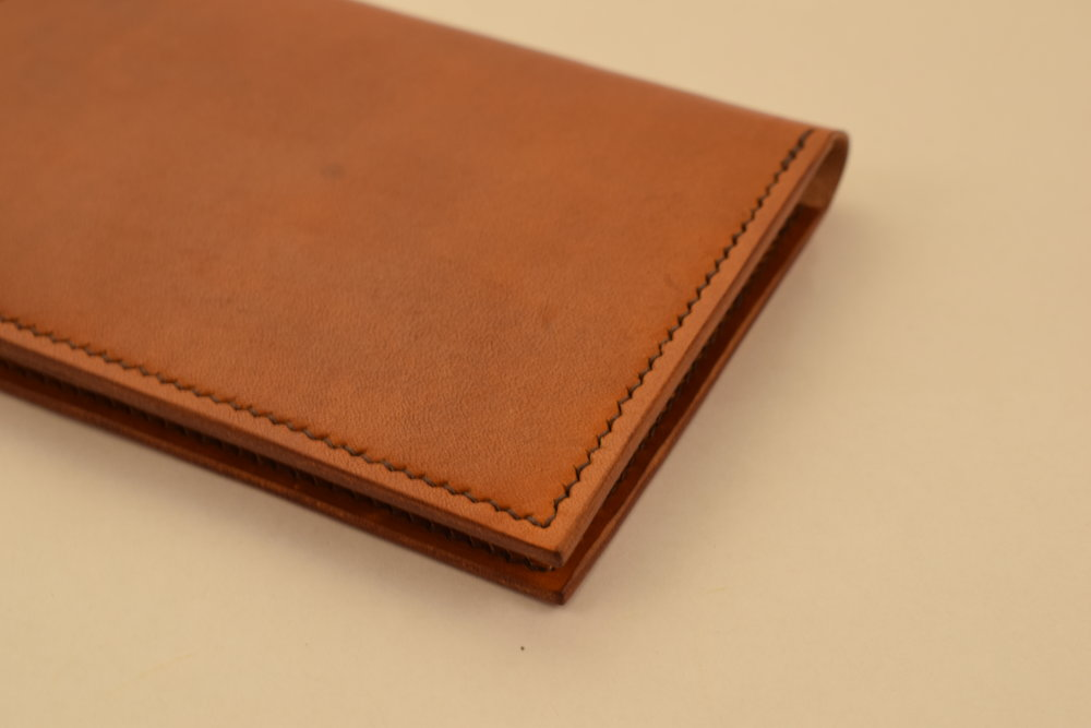 Hand-dyed Light Brown, Dark Brown Thread, Burnished Edges, No Lining ($100)