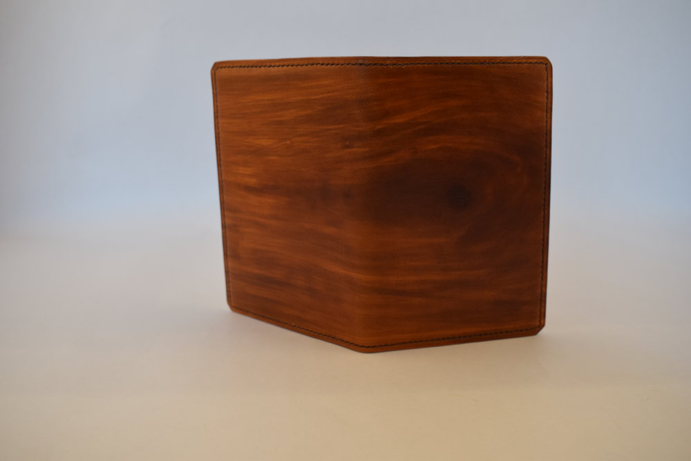 Custom Hand-dyed Wood Grain, Dark Brown Thread, Burnished Edges, Lined Cover ($115)