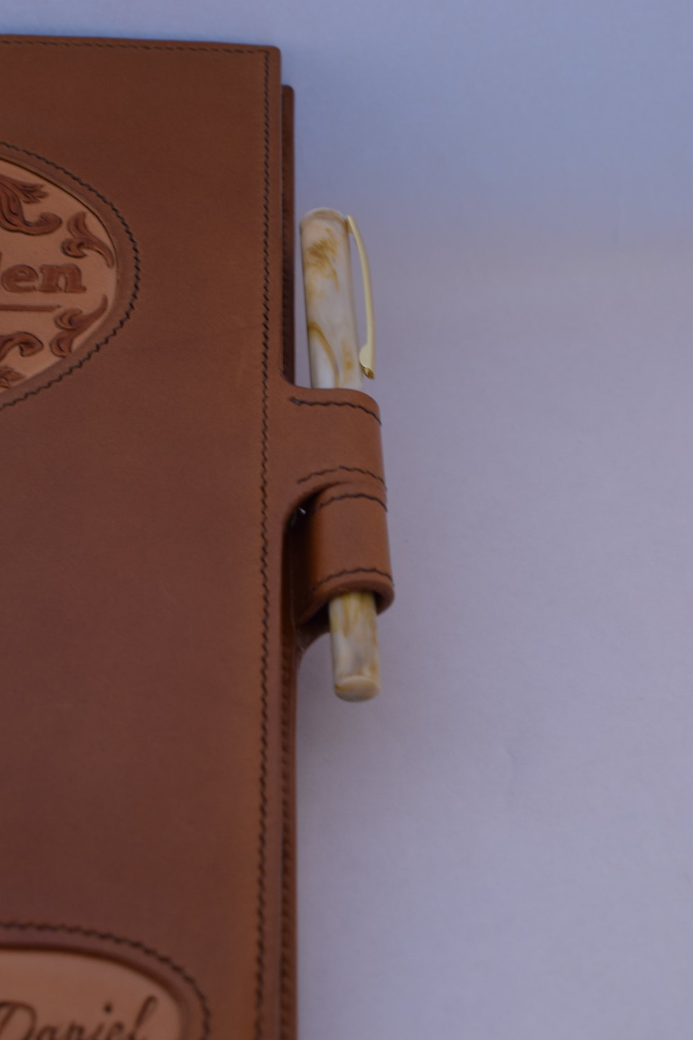 Custom Combination of Italian Buttero, Goat, and Hand-dyed Veg. Tan with Double Pen Loop ($490)