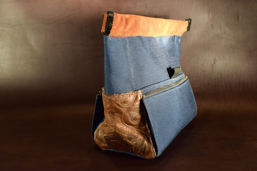 Custom Rock Climbing Chalk Bags, Made From Recycled Rodeo Boots