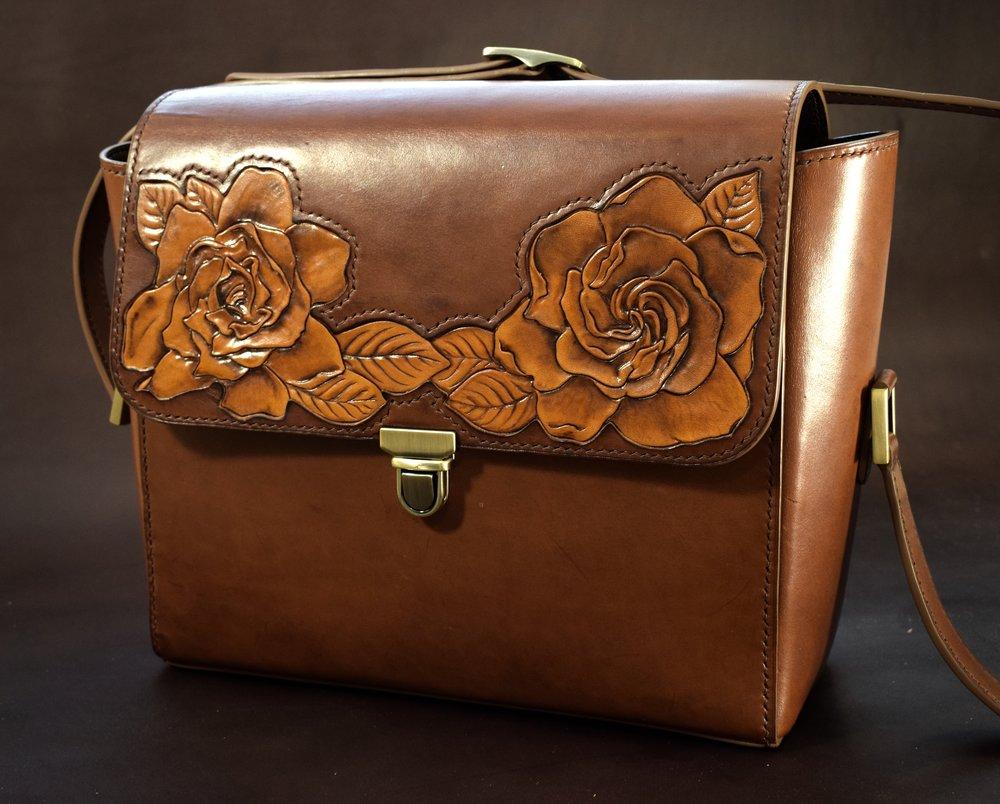 Unglazed Harness Leather Crossbody with Custom Gardenia Inlay