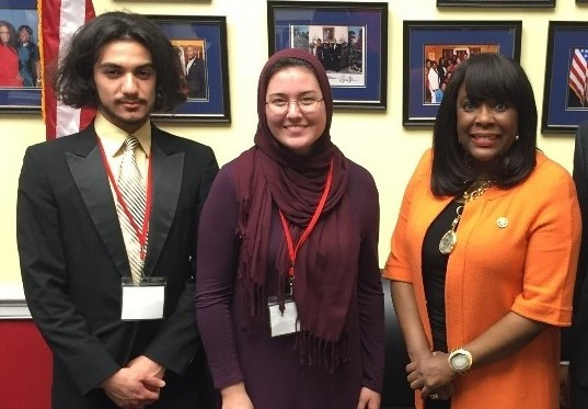 Zakaria and Megan with Congresswoman Sewell