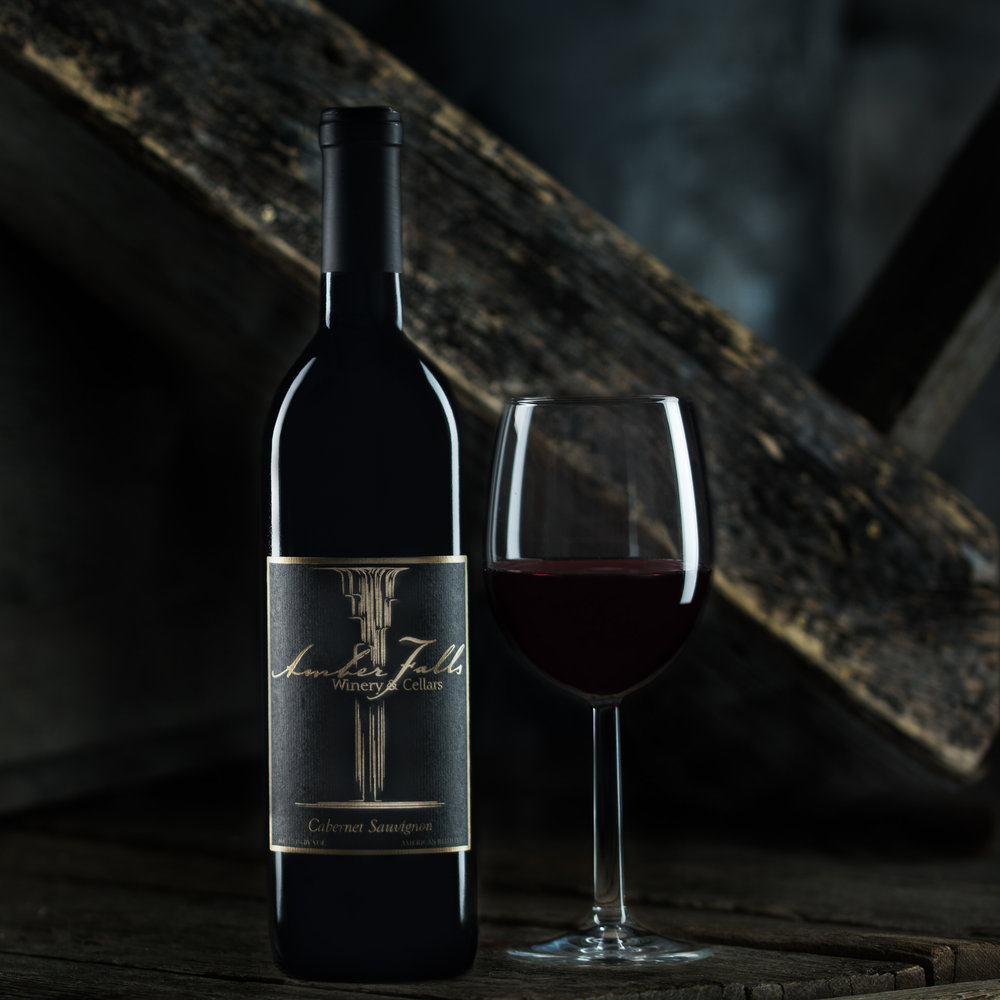 advertising photography for Amber Falls Winery gray bottle