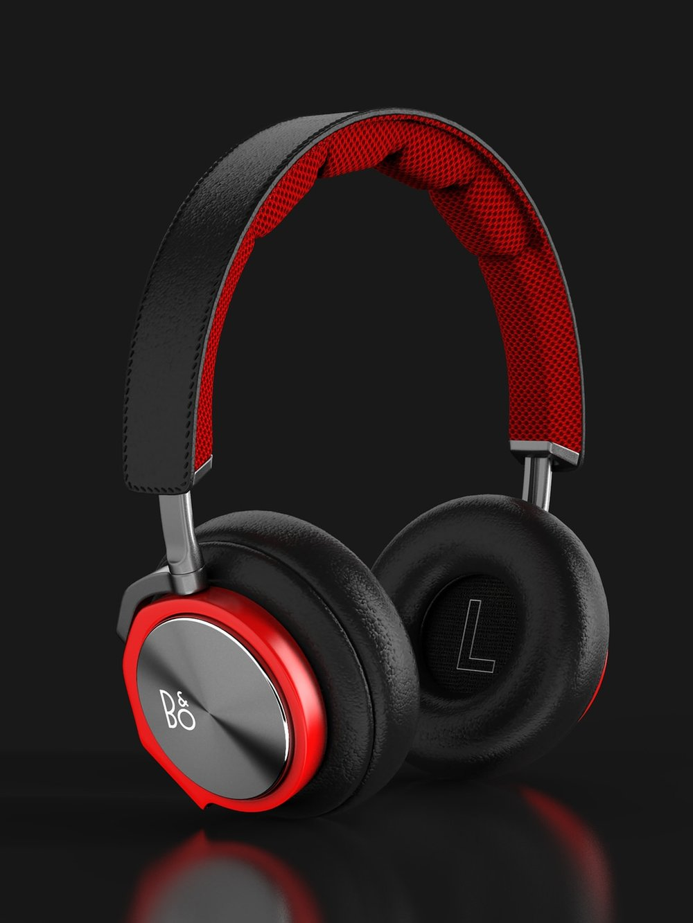 Product photography of red Beoplay Headphones