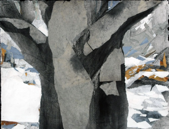 Tree in the Snow   22 x 30, collage on paper