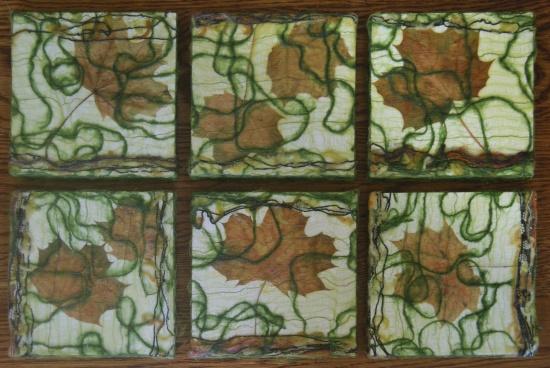 "Maples Dancing   6"" x 6"", Maple leaves, silk, wood, threads, encaustic medium on wood panel"