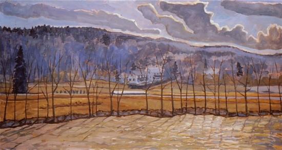 "Swollen River   28 x 50"", oil on linen"