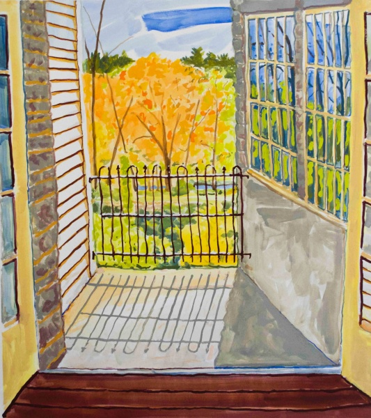 """Paradise Balcony   24 x 22"""", gouache"""
