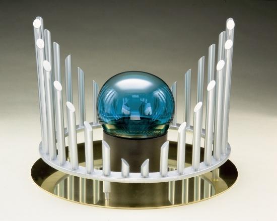 """Fountainhead  14""""x18""""x18"""", Mat.: Steel, glass and brass"""