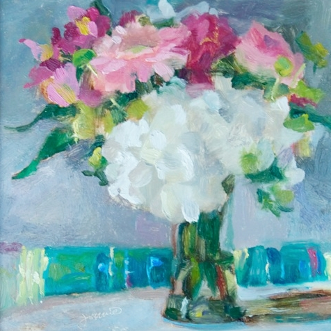 "March Bouquet II    7 1/4 x 7.5"", oil on canvas"