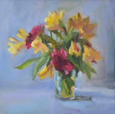 "Matsumoto Asters & Alstoemeria   10 x 10"", oil on canvas"