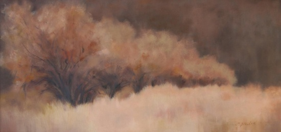 "Autumn Suede   20 x 50"", oil on canvas"