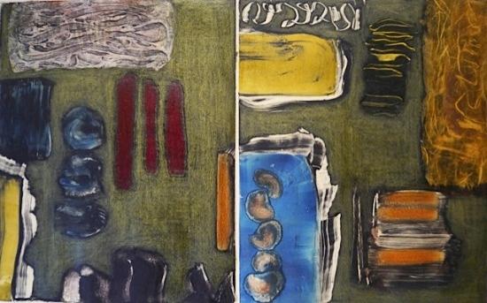 "Claret Trio   18 x 24"", Monotype /Mixed Media"