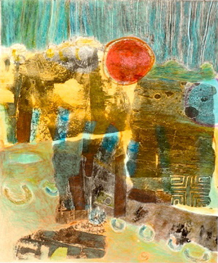 "Distant Land   32 x 26"", Monotype / Mixed Media"