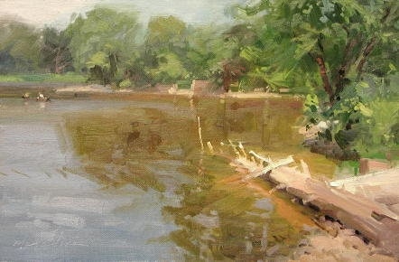 "Looking for Smallmouths  12 x 18 x 2"" oil on canvas"