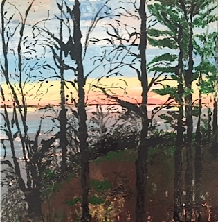 Wallenpaupack Sunset   18 x 18, acrylic on canvas.