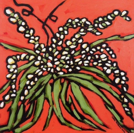 White Flowers on Orange   12 x 12, acrylic on canvas