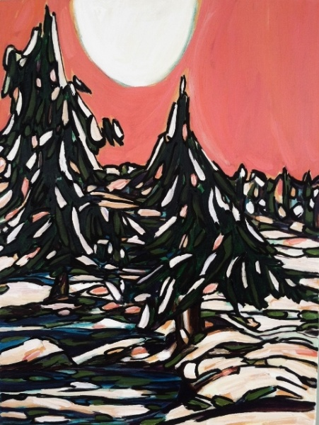 Rose Sky, Big Moon   18x24, acrylic on canvas.