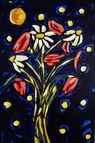 Daisies and Posies on Blue   16 x 24, acrylic on canvas