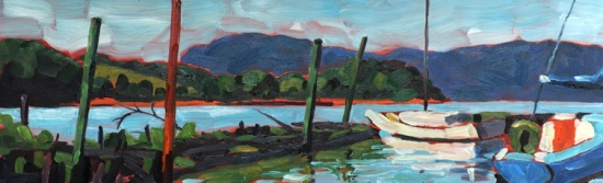 "Croton Sailboats   7 x 22"", oil on board."