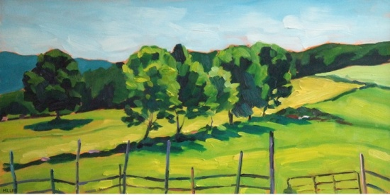 Hemlock Hill Farm   12 x 24, oil on board