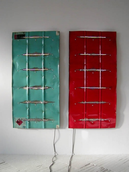"Blue and Red Units of Energy  (combined dimensions 78""W x 70""L x 3""D)"