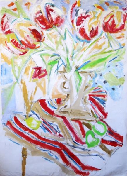 Tulips   48 x 58, acrylic on canvas