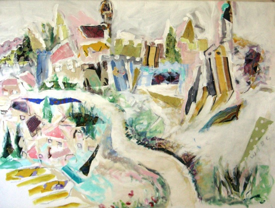 Old City, Jerusalem   40 x 60, collage and acrylic on canvas