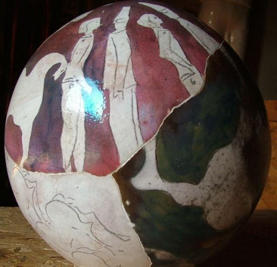 """Sphere 3,  ceramic, 11"""" circum."""