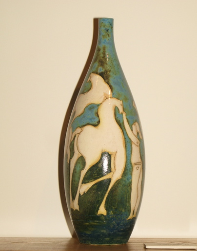 """Aqua Vase   19"""" h x 7"""" x 7"""". ceramic"""